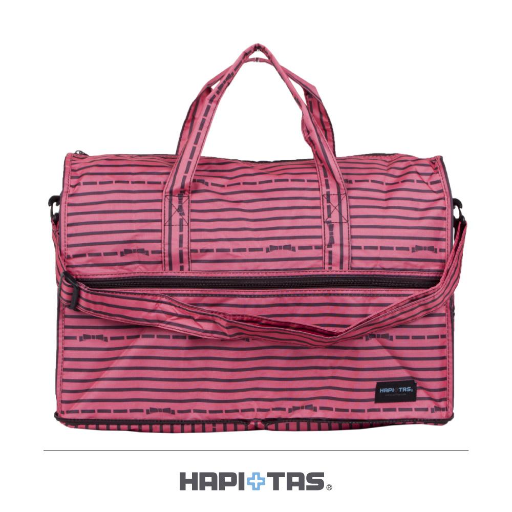 日本HAPI+TAS  小摺疊旅行袋  粉色橫條蝴蝶結