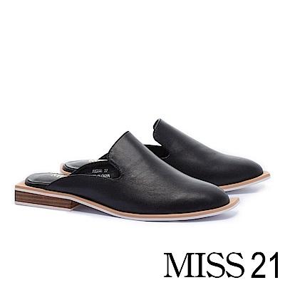 拖鞋 MISS 21 極致藝術輪廓真皮穆勒低跟拖鞋-黑