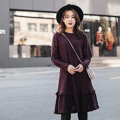 荷葉裙襬拼接滿版蕾絲洋裝-OB大尺碼