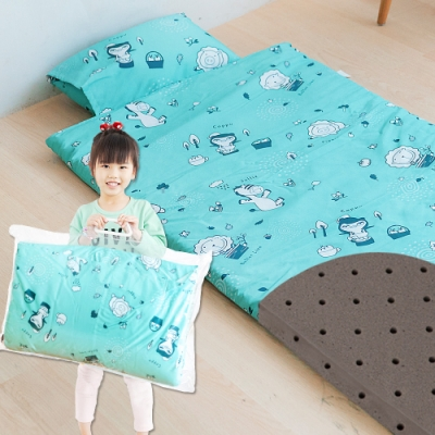 奶油獅-森林野餐-台灣製造-可黏式收納安親午睡記憶睡墊(含枕)幼幼床-藍