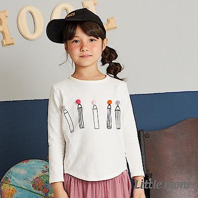 Little moni 立體毛球鉛筆印圖上衣(兩色可選)