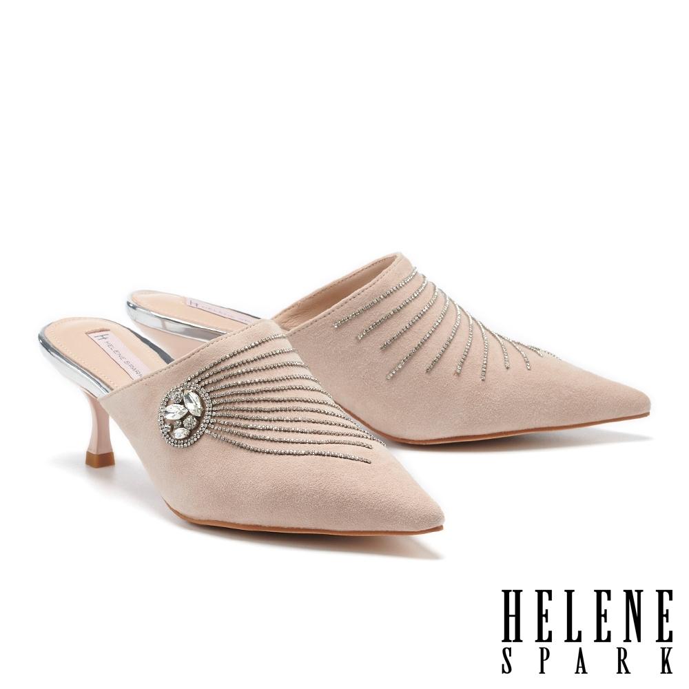 穆勒鞋 HELENE SPARK 高雅奢華流蘇晶鑽尖頭高跟穆勒拖鞋-粉