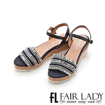 Fair Lady 編織拼接流蘇楔型厚底涼鞋 深藍