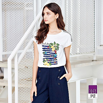 ILEY伊蕾 熱帶水果刺繡寬版上衣(白)