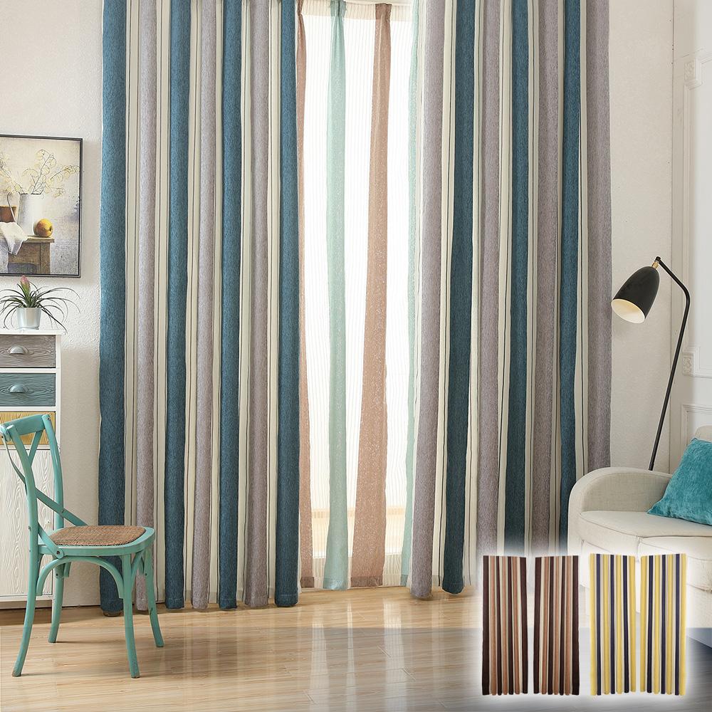 日創優品 現代北歐風格雪尼爾條紋窗簾(200x165cm)