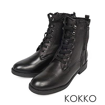 KOKKO - 部落客最愛極簡牛皮綁帶短靴 - 黑巧克力