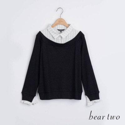 bear two- 學院風假兩件襯衫 - 黑
