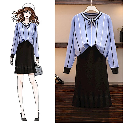 DABI 韓國風氣質大碼針織小香風毛衣套裝長袖裙裝