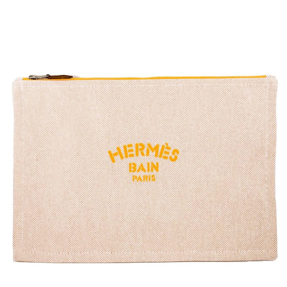 HERMES Bain 大款 手拿包/收納袋/化妝包 (黃色)