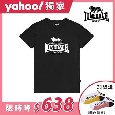 【LONSDALE 英國小獅】經典LOGO短袖T恤-黑色LT001