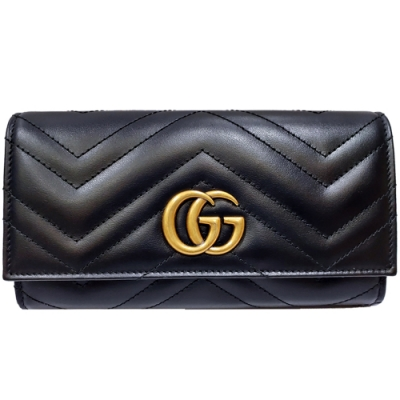 GUCCI  GG Marmont絎縫紋牛皮金屬雙G LOGO長夾(黑色)