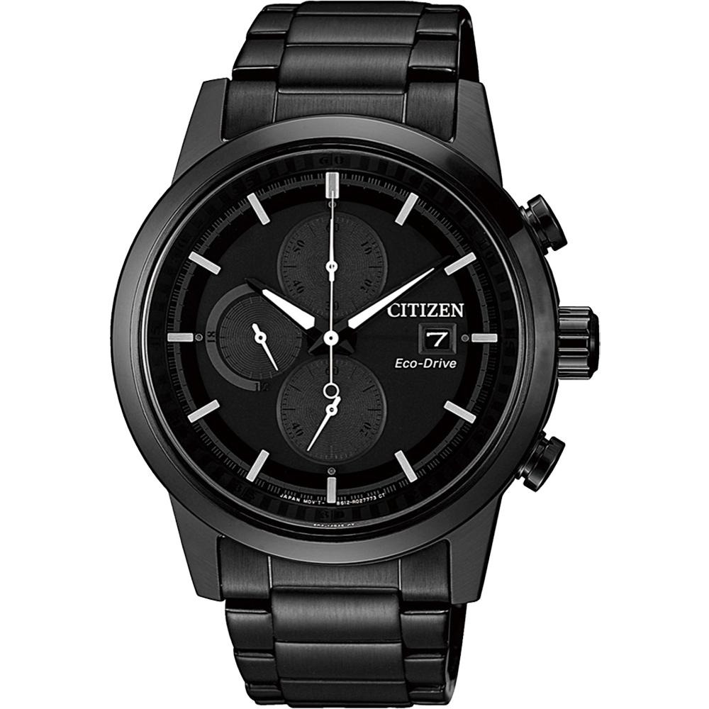 CITIZEN 星辰 Eco-Drive 光動能現代計時碼錶-黑/43mm(CA0615-59F)