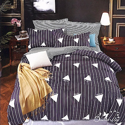 BUTTERFLY-台製柔絲絨單人薄式床包被套組-藝術生活