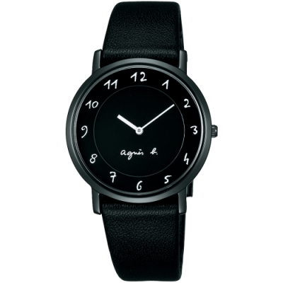 agnes b. 法式風情簡約薄型腕錶(BG4002P1)-黑/33mm