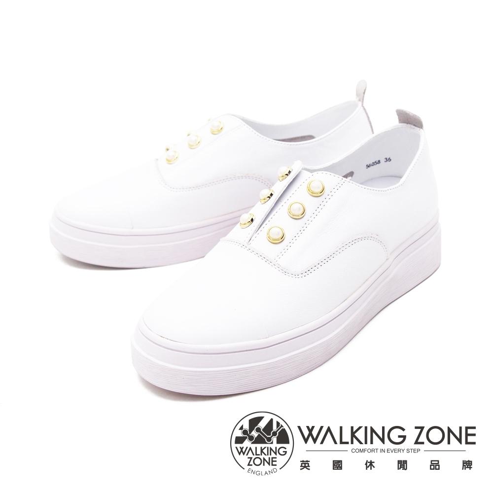 WALKING ZONE(女) 珍珠彈力帶休閒鞋女鞋-白(另有藍)