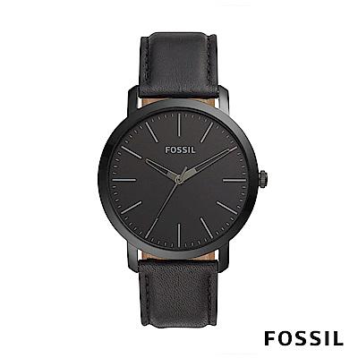 FOSSIL LUTHER 3H 簡約風範皮革男錶-黑色