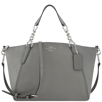 COACH 大象灰色荔枝紋皮革手提/斜背兩用包