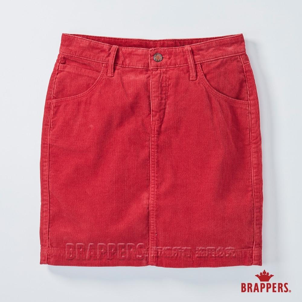 BRAPPERS 女款 條絨膝上裙-紅
