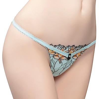 思薇爾 花影饗宴系列M-XL蕾絲刺繡低腰丁字褲(青冰藍)