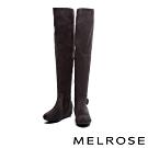 長靴 MELROSE 簡約時尚晶鑽條帶麂布過膝內增高長靴-灰