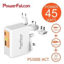 PowerFalcon 45W USB-A+C PD/QC3.0 2孔快充-旅行萬用接頭款