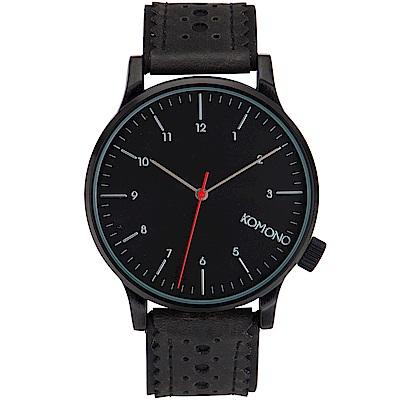 KOMONO Winston Brogue 腕錶-性格黑雕花/41mm