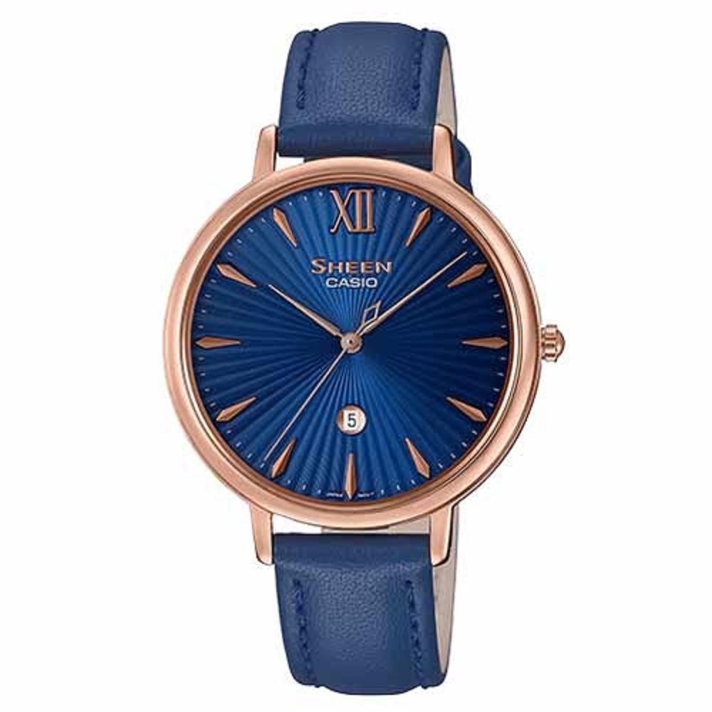 SHEEN 簡約雅致藍寶石設計皮帶腕錶-藍(SHE-4534PGL-2A)