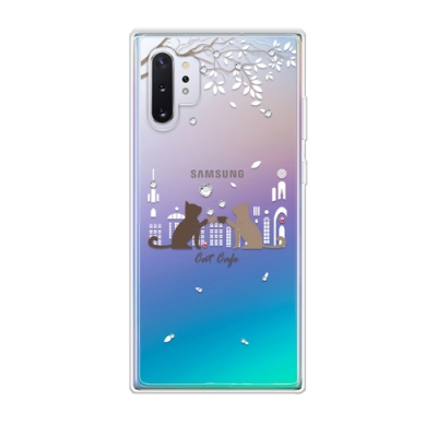 Corner4 Samsung Note 10+ 奧地利彩鑽雙料手機殼-午茶貓咪