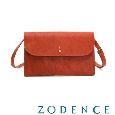 ZODENCE 義大利植鞣革金點設計手拿兩用皮夾包 橘紅