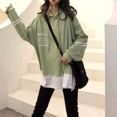 Lockers 木櫃 假兩件寬鬆積極字母印花純色衛衣/上衣-2色