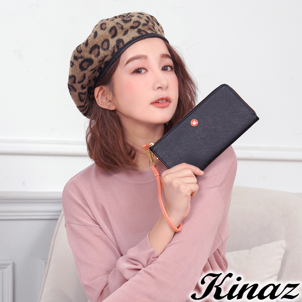 KINAZ 七彩露珠L型拉鍊長夾-迷情黑-繡球花系列