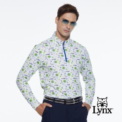 【Lynx Golf】男款吸濕排汗合身版貓頭皇冠印花長袖立領POLO衫-白色