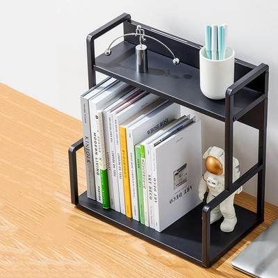 【HappyLife】H型桌面置物架花架-兩層40cm(黑色) 40×22×41.5cm