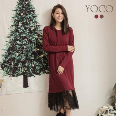東京著衣-YOCO 優雅女伶蝴蝶結領下擺蕾絲洋裝