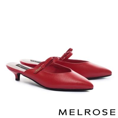 拖鞋 MELROSE 時尚金屬飾釦蝴蝶結牛皮尖頭低跟穆勒拖鞋-紅