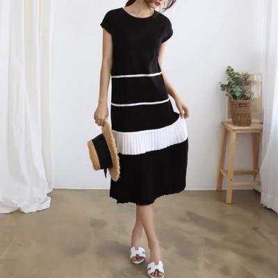 2F韓衣-簡約優雅素色白條拼接造型洋裝-3色(F)