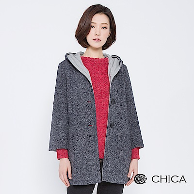 CHICA 冬日童話排釦連帽織紋大衣( 1 色)
