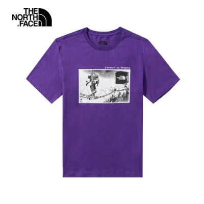 The North Face北面男女款紫色胸前印花短袖T恤|5B3KNL4