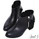Ann'S丹麥時尚-幾何拼接絨布粗跟短靴-黑 product thumbnail 1