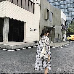 韓國空運 薄透格紋長版襯衫-3色-TMH