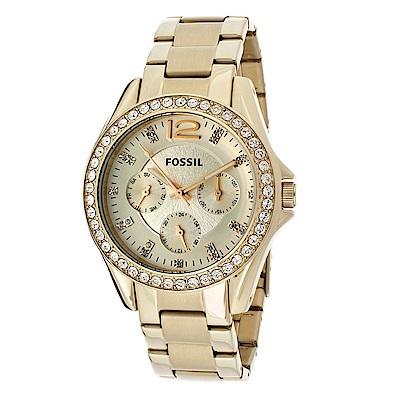 FOSSIL 蕾莉金光輝煌三眼不鏽鋼三眼腕錶(ES3203)-香檳金/37mm