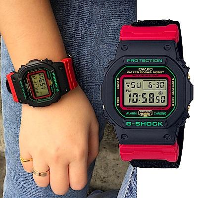 CASIO卡西歐 紅綠撞色 復古風G-SHOCK 中性休閒錶 (DW-5600THC-1D)