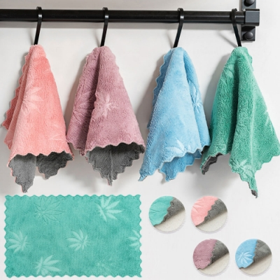 EZlife加厚楓葉雙層吸水抹布10入組贈瀝水置物架(顏色隨機)