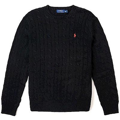 Polo Rlaph Lauren 經典刺繡小馬圓領麻花針織毛衣-黑色