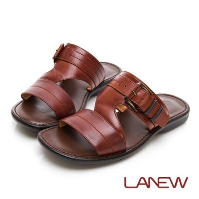 LA NEW PU氣墊 小牛皮拖鞋(男225073600)
