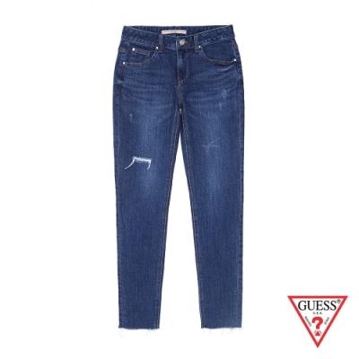 GUESS-女裝-修身割破牛仔褲-藍