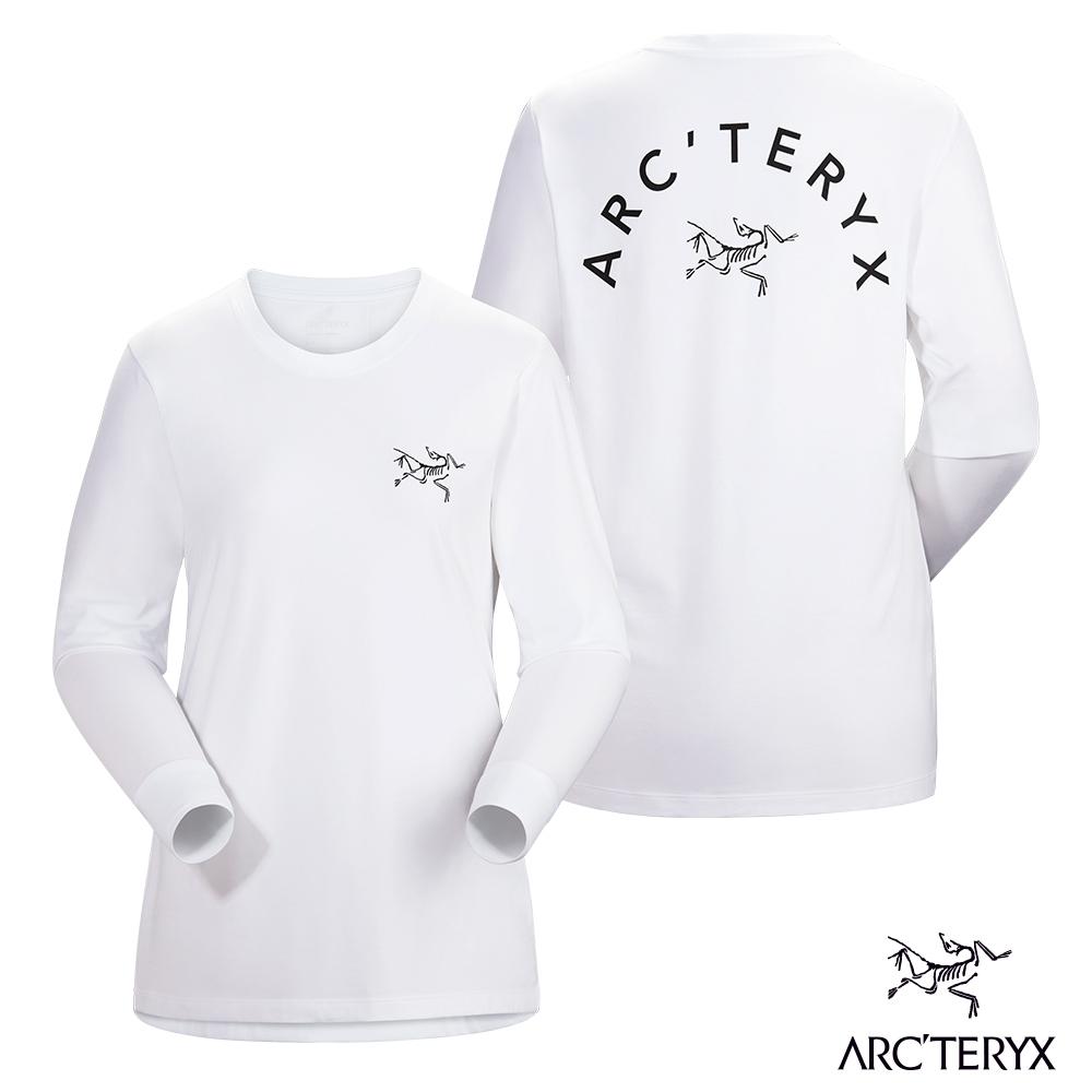 Arcteryx 始祖鳥 女 有機棉 LOGO 長袖T恤 白