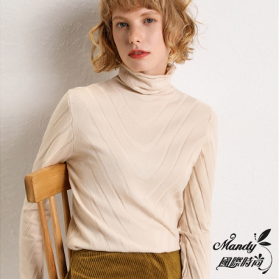 Mandy國際時尚 長袖上衣 秋 羊毛菱紋純色堆堆領厚針織毛衣(8色)