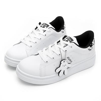DISNEY 街頭米奇吊飾休閒鞋-白黑-DW56011C