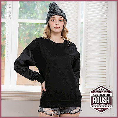 Roush 女生over size雙袖垂墜織帶落肩刷毛大學T(3色)